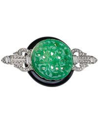 Kenneth Jay Lane Jade-inspired Pin - Green