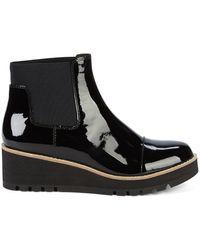Eileen Fisher Chelsea Leather Wedge Booties - Black