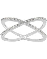Lord & Taylor - Andin Sterling Silver Diamond Pave Criss-cross Ring - Lyst