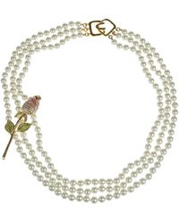 Kenneth Jay Lane - 6mm Pearl And Crystal Layered Necklace - Lyst
