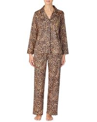 Lauren by Ralph Lauren Petite Classic Sateen Long Sleeve Notch Collar Long Pants Pyjama Set - Brown