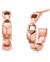 Michael Kors Mercer Link 14k Rose Gold Huggie Earrings