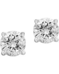 Effy - 14k White Gold & Diamond Stud Earrings - Lyst