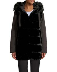 Via Spiga Faux Fur-trim Velvet Puffer Coat - Black