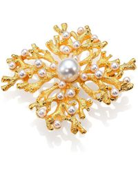 Kenneth Jay Lane Faux Pearl Cluster Coral Branch Pin