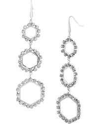 Steve Madden - Silver-tone Crystal Ring Triple Drop Earrings - Lyst