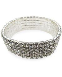 Badgley Mischka Occasion Crystal Stretch Bracelet - Metallic