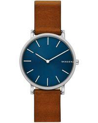 Skagen Hagen Slim Leather-strap Watch - Brown