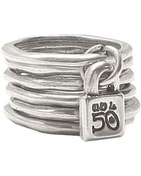 Uno De 50 - Hammered Metal Layered Ring - Lyst