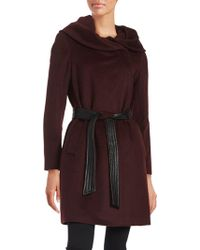 Cole Haan - Cole Haan Belted Asymmetrical Wool Coat - Lyst