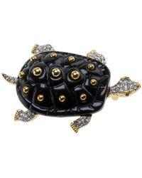 Kenneth Jay Lane Turtle Pin - Black