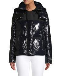 Calvin Klein Shiny Faux Leather Puffer Coat - Black