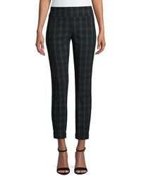 Lord + Taylor Petite Plaid-print Straight Trousers - Blue