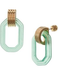 Christian Siriano Goldtone And Lucite Square Link Drop Earrings - Multicolour