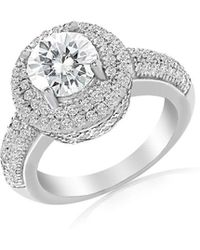 Lord + Taylor Rhodium-plated Sterling Silver & Double Halo Cubic Zirconia Engagement Ring - Metallic