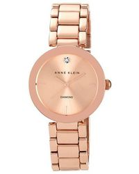 Anne Klein Ladies Rose Goldtone And Diamond Watch - Metallic