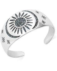 Lucky Brand Silver-tone Hematite Crystal Sun & Moon Cuff Bracelet - Metallic