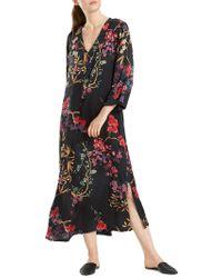 N Natori - Floral-print Silky Satin Caftan - Lyst