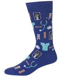 Hot Sox Novelty Medical Print Socks - Blue