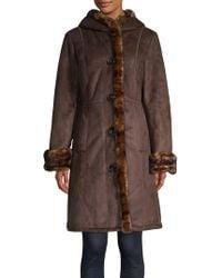 Gallery - Petite Plush Faux Fur Trim Walker Coat - Lyst