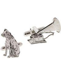 1928 Dog And Phonograph Cufflinks - Metallic