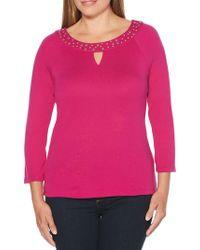 Rafaella - Embellished Three-quarter Sleeve Top - Lyst
