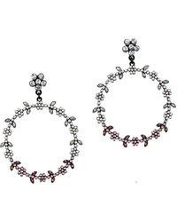 Mango - Bruna Faceted Crystal Hoop Earrings - Lyst