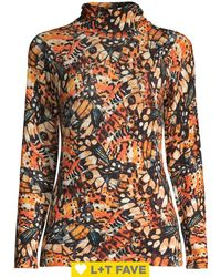 Lord + Taylor Butterfly-print Turtleneck Top - Multicolour
