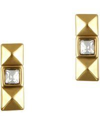 Karl Lagerfeld - Pyramid Swarovski Crystal And Crystal Stud Earrings - Lyst