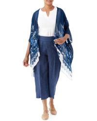 Olsen Santorini Printed Kimono - Blue