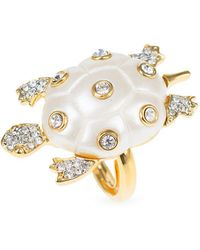 Kenneth Jay Lane - Faux Pearl And Crystal Turtle Ring - Lyst