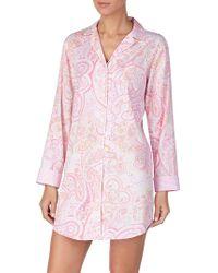 Lauren by Ralph Lauren - Long-sleeve Woven Sleepshirt - Lyst
