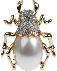 Kenneth Jay Lane Faux Pearl And Crystal Beetle Pin - Multicolour