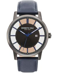 Kenneth Cole - Transparency Stainless Steel & Leather-strap Watch - Lyst