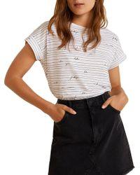 Mango - Short-sleeve Cotton Tee - Lyst