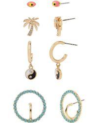 BCBGeneration - Festival Fashion Mystical Eye & Palm Tree 4-pair Goldtone & Crystal Earrings - Lyst