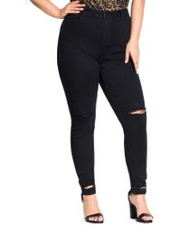 City Chic - Plus Riot Skinny Jeans - Lyst