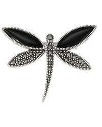 Lord + Taylor Marcasite Stone And Onyx Dragonfly Brooch - Black