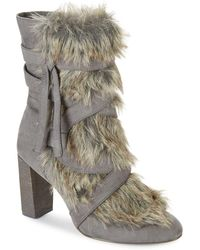 Charles David - Alberta Faux Fur-trimmed Booties - Lyst