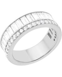 Lord + Taylor - Rhodium-plated Sterling Silver And Cubic Zirconia Half Eternity Ring - Lyst