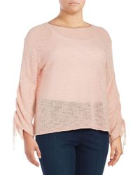 Vince Camuto - Plus Ruched-sleeve Cotton Jumper - Lyst