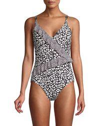 MICHAEL Michael Kors - Ruffle Printed One-piece Swimsuit - Lyst