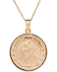 Lord + Taylor 14k Yellow-gold Christopher Medallion Pendant Necklace - Metallic
