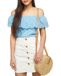 Miss Selfridge - Broderie Off-the-shoulder Top - Lyst