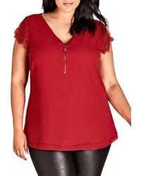 City Chic - Trendy Plus Size Lace-sleeve Zippered Top - Lyst
