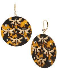 Betsey Johnson Tortifly Dragonfly Tortoise Goldtone & Crystal Drop Earrings - Metallic