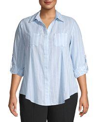 Lord + Taylor Plus Nancy Striped Roll-tab Shirt - Blue