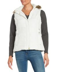 Weatherproof - Faux Fur Trim Puffer Hooded Vest - Lyst
