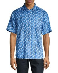 Tommy Bahama Piccolo Palms Button Front Shirt - Blue
