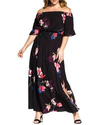 City Chic - Plus Spring Lotus Maxi Dress - Lyst